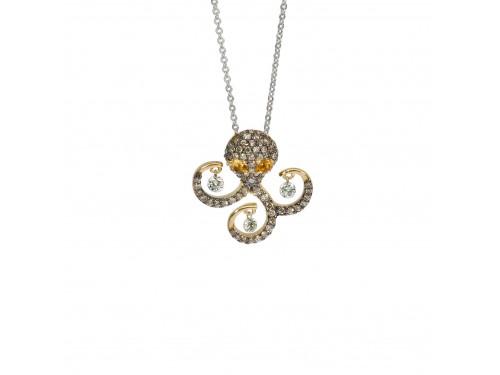 Collier Ponte Vecchio in oro bianco con pendente Piovra in oro giallo e diamanti - collezione Vega