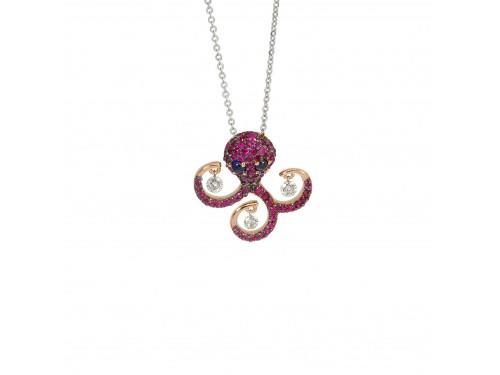 Collier Ponte Vecchio in oro bianco con pendente Piovra in oro rosa, rubini, diamanti e zaffiri - collezione Vega