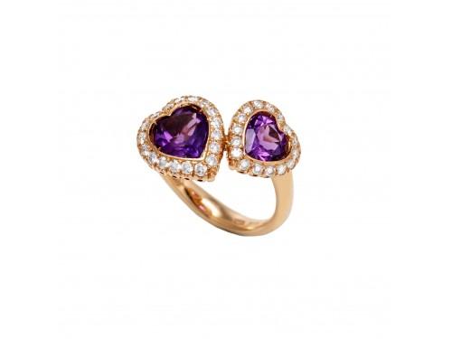 Anello Ponte Vecchio in Oro rosa con Cuori di ametista e diamanti - collezione Gaga