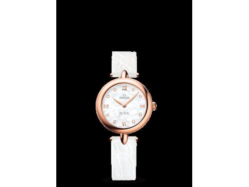 Omega orologio donna De Ville Prestige Dewdrop bianco con diamanti