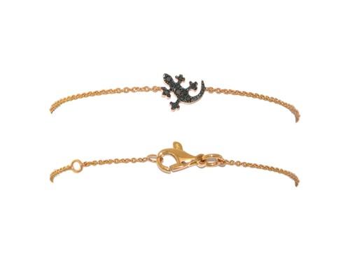 Bracciale Casella Gioielli in oro giallo con Geco in oro e diamanti black