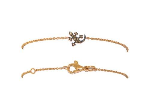 Bracciale Casella Gioielli in oro giallo con Geco in oro e diamanti Brown