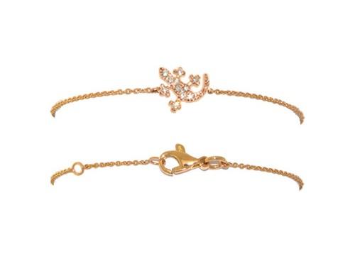 Bracciale Casella Gioielli in oro giallo con Geco in oro e diamanti Bianchi