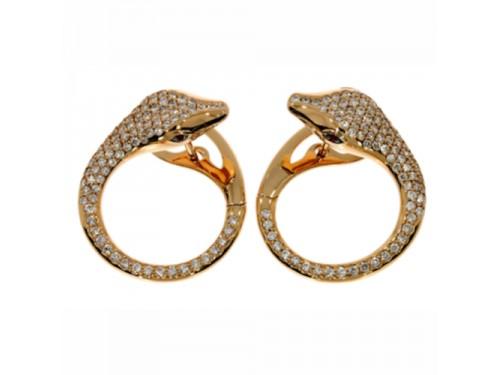 Orecchini Casella Gioielli Serpente in oro giallo, diamanti e rubini