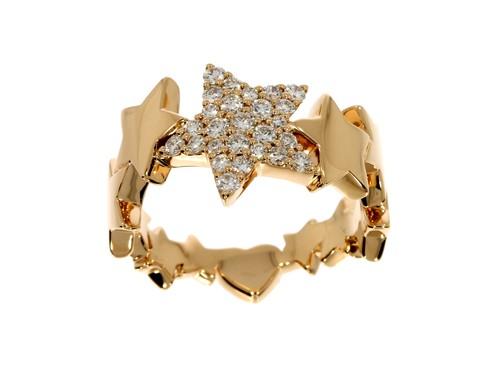 Anello Casella Gioielli con stelle in oro e diamanti