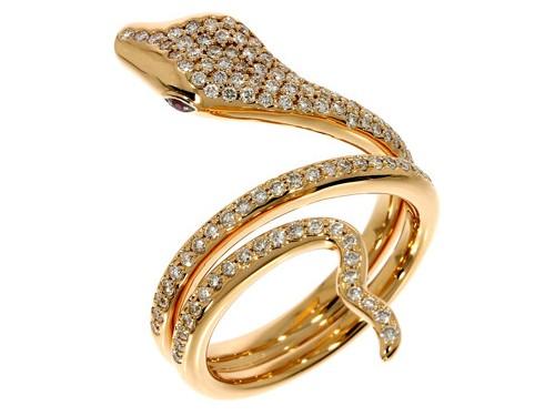 Anello Casella Gioielli con Serpente in Oro, Diamanti e Rubini