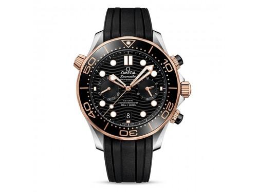 Orologio Omega Seamaster Diver 300M Co-Axial Master Chronometer Chronograph con Oro Sedna