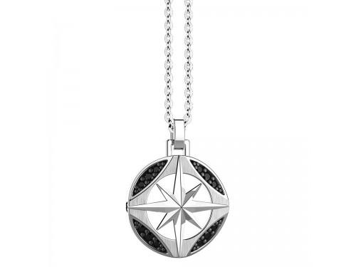 Collana da Uomo Zancan Insignia 925 in Argento con Pendente Rosa dei Venti e Spinelli Neri