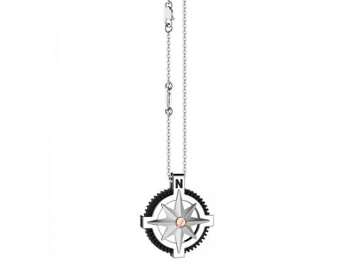 Collana da Uomo Zancan Insignia 925 in Argento e Oro Rosa con Rosa dei Venti