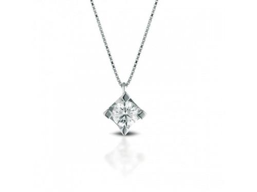 Girocollo Punto Luce Coscia Le Lune Diamonds in Oro Bianco con Diamante 0,08 ct