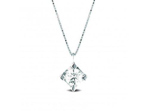 Girocollo Punto Luce Coscia Le Lune Diamonds in Oro Bianco con Diamante 0,02 ct