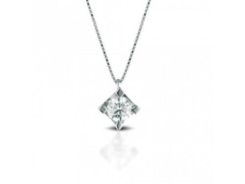 Girocollo Punto Luce Coscia Le Lune Diamonds in Oro Bianco con Diamante 0,04 ct