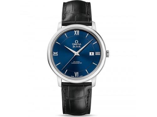 Orologio Omega De Ville Prestige Co-Axial con Quadrante Blu e Cinturino in Pelle Nero