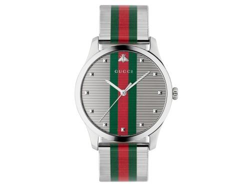 Orologio Gucci G-Timeless con Bracciale in Acciaio e Motivo Web Verde e Rosso