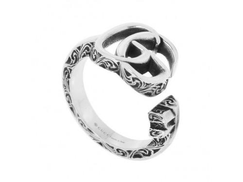 Anello a Forma di Chiave Gucci Marmont in Argento con Logo Doppia G