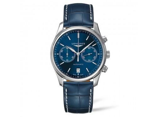 Orologio Cronografo Longines The Master Collection con Quadrante Blu e Cinturino in Pelle