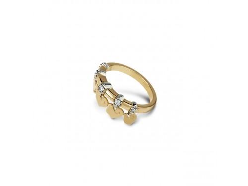Anello Chantecler Anima con 5 Galli Pendenti in Oro Giallo e Diamanti