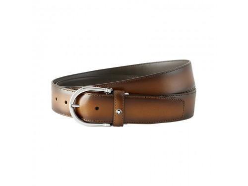 Cintura Montblanc Classic Line in Pelle Marrone con Fibbia Ovale