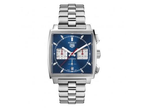 Cronografo Automatico Tag Heuer Monaco con Quadrante Blu con Bracciale in Acciaio