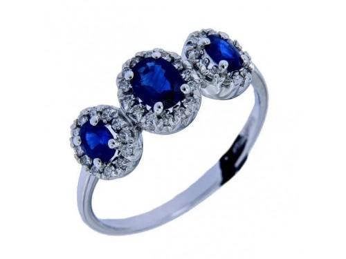 Anello Trilogy Recarlo in Oro Bianco Diamanti e Zaffiri Blu