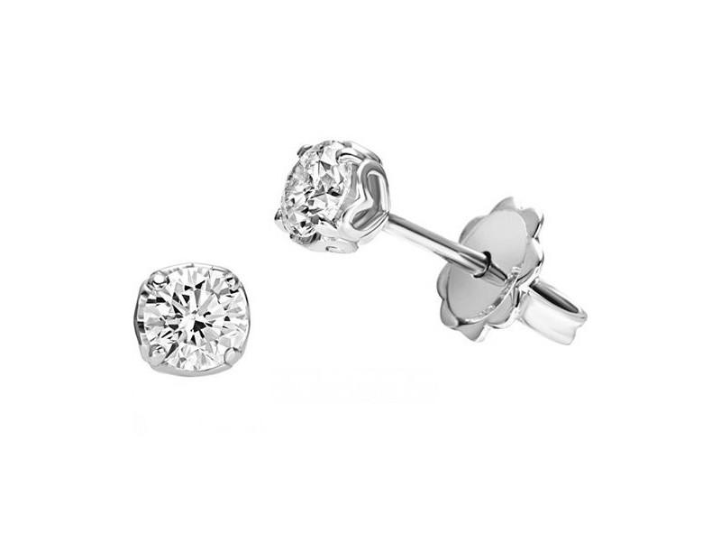 Orecchini Punto Luce Recarlo Anniversary Love in Oro Bianco con Diamanti