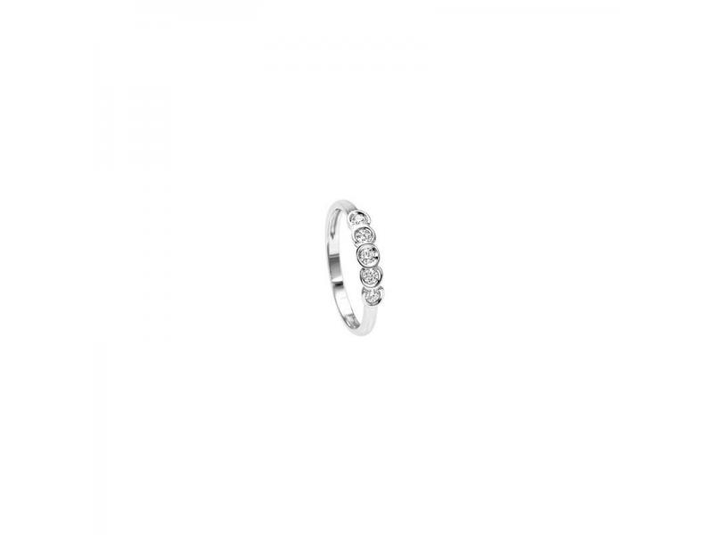 Anello Fedina 5 Pietre Recarlo Principesse in Oro Bianco e Diamanti