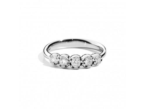 Anello Fedina 5 Pietre Recarlo Face Round in Oro Bianco e Diamanti