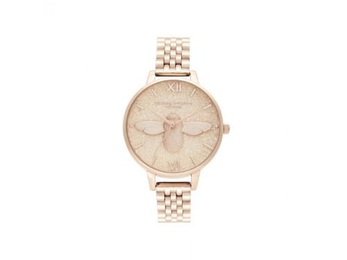 Orologio Olivia Burton Glitter Dial con Quadrante Glitterato con Ape e Bracciale in Acciaio Rosa