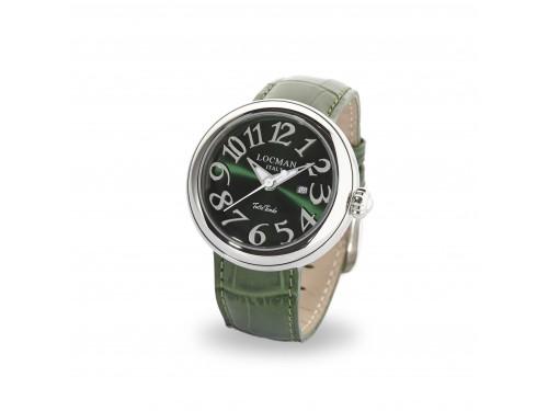 Locman Orologio Tuttotondo solo tempo in acciaio con cinturino in pelle verde