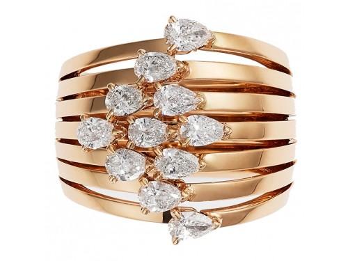 Anello Crivelli Fascia in Oro Rosa e Diamanti