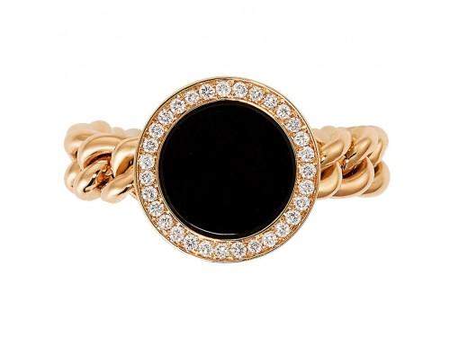 Anello Crivelli Groumette in Oro Rosa con Diamanti e Onice