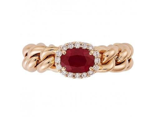 Anello Crivelli Groumette in Oro Rosa con Diamanti e Rubino