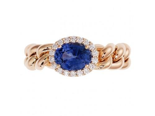 Anello Crivelli Groumette in Oro Rosa con Diamanti e Zaffiro Blu