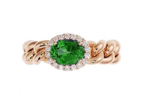 Anello Crivelli Groumette in Oro Rosa con Diamanti e Smeraldo