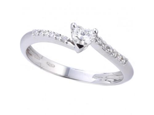 Anello Casella Gioielli in Oro Bianco con Diamante a Cuore e Diamanti