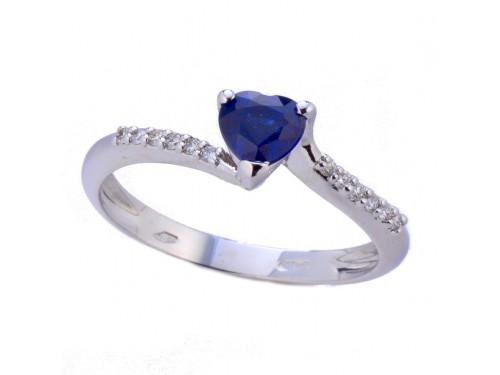 Anello Casella Gioielli in Oro Bianco con Zaffiro Blu a Cuore e Diamanti