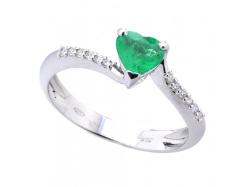 Anello Casella Gioielli in Oro Bianco con Smeraldo a Cuore e Diamanti