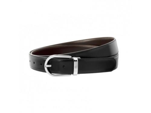 Cintura Montblanc Meisterstuck in Pelle Double Face Nera/Marrone con Fibbia Ovale