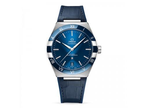 Omega Constellation Co-Axial Master Chronometer con Quadrante Blu e Cinturino in Pelle