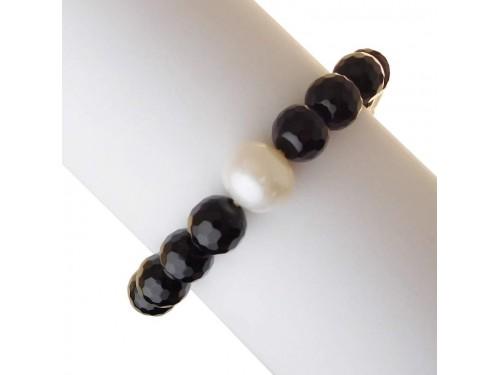 Bracciale Rajola Girasole con Onice e Perle Bianche