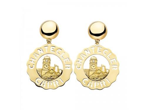 Chantecler Logo Orecchini grandi Piazzetta in oro giallo e diamanti