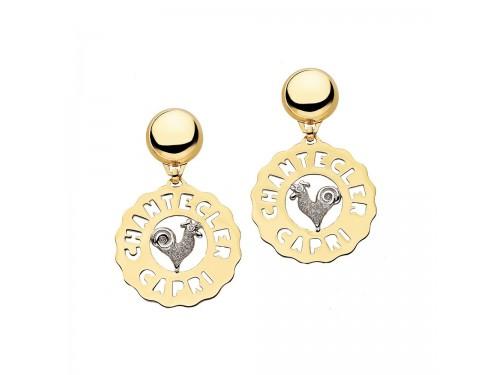 Chantecler Logo Orecchini medi Gallo in oro giallo e bianco e diamanti