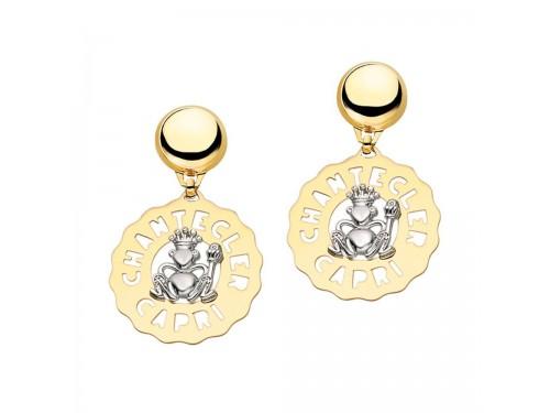 Chantecler Logo Orecchini medi Principe Ranocchio in oro giallo e bianco e diamanti