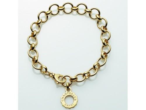 Chantecler Bracciale a maglie tonde in oro giallo con pendente logo