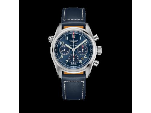 Cronografo Longines Spirit con Quadrante Blu e Cinturino in Pelle Blu