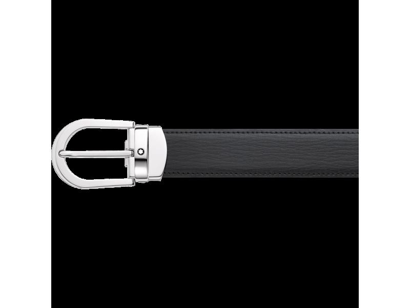 Cintura Montblanc in pelle nera con fibbia a ferro di cavallo
