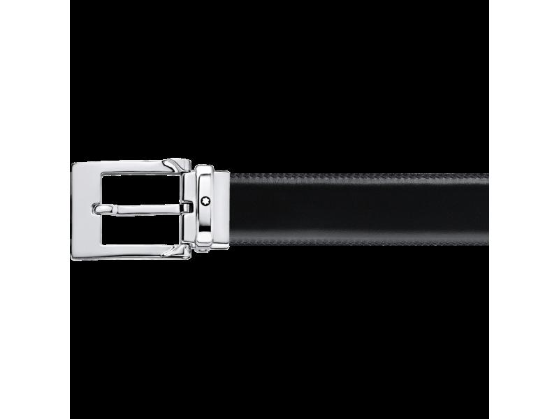 Cintura Montblanc doubleface con fibbia ad ardiglione rettangolare finitura lucida