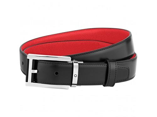 Cintura Montblanc in Pelle Nera e Rossa