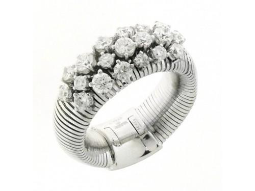 Anello Chimento Stardust in Oro Bianco con 19 Diamanti Bianchi