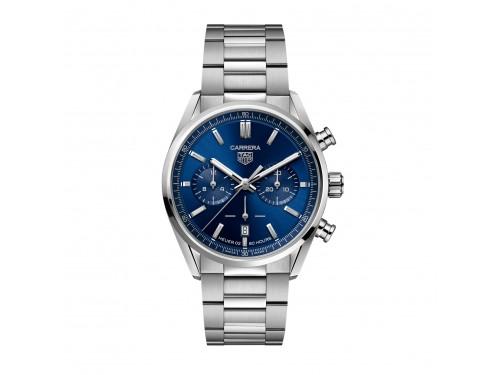 Cronografo Automatico Tag Heuer Carrera Calibro 02 con Quadrante Blu e Bracciale in Acciaio